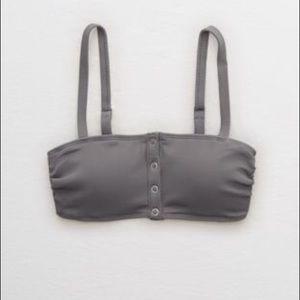 Aerie Ribbed Henley Bandeau Bikini Top
